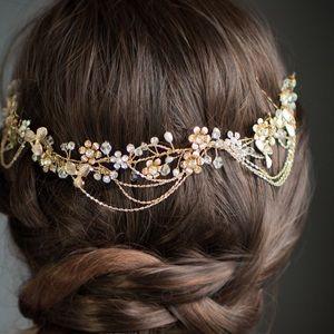 Boho Gold Wedding Headpiece Wire Halo Floral Hair